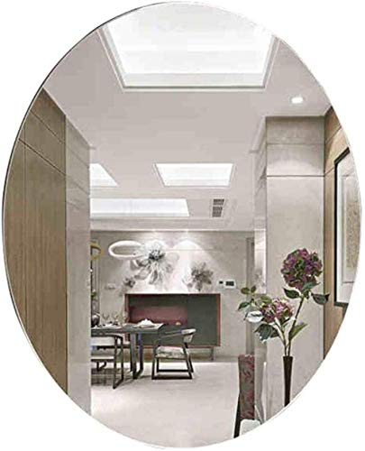 AOIWE Espejos de maquillaje ovalados de pared para baño | Espejo de pared para maquillaje y afeitado | Espejo plano | Espejo de pared decorativo sin marco para muebles de baño (tamaño: 70 x 90 cm)