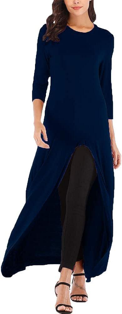 Women's Fashion High Low Asymmetrical Hem Shirt Casual Short Sleeve Round Neck Maxi Tunic Tops