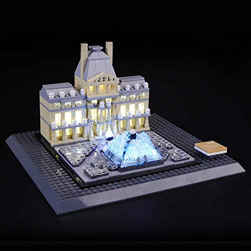 ZJLA LED-Beleuchtungsset für LEGO Architektur Louvre Wahrzeichen, kompatibel mit LEGO 21024 Bausteinen, nicht enthalten das LEGO Set