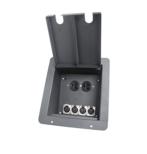 Elite Core FB4 Recessed Floor Box | 4 XLR, 1 Duplex AC Connections, 4-XLRF