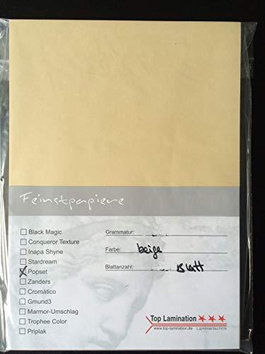 25 vellen DIN A3 beige papier 170 g/m2 van Top Lamination - volledig gekleurd, mogelijk gebruik: uitnodigingen, inlegbladen, bruiloftskaarten, fotoalbum, posters, affiches, knutselwerk enz.