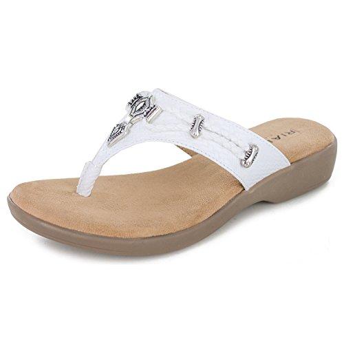 RIALTO Shoes Bailee Women's Sandal, White/Woven, 7H M