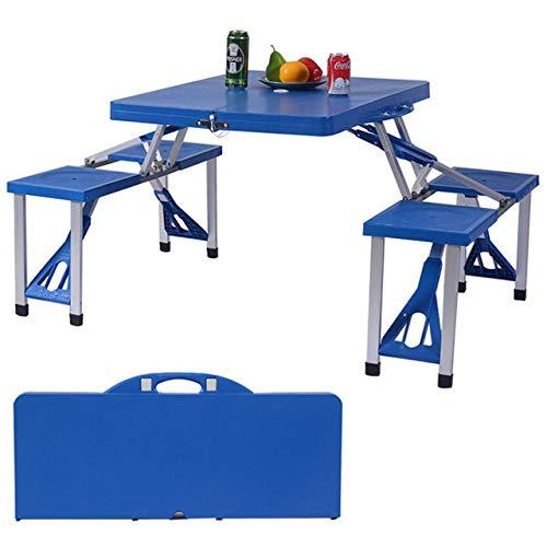 ZFLL Picknick klaptafel en stoelen Outdoor plastic een stuk draagbare picknick barbecue multifunctionele opklapbare tafel en stoel klapstoel Blauw