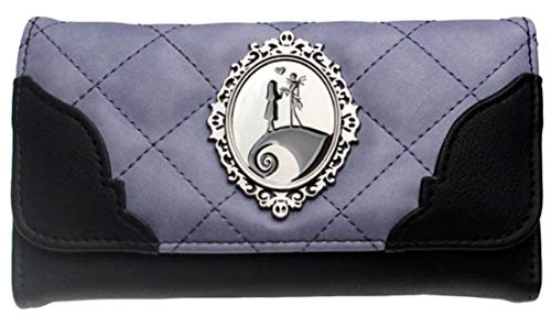 Nightmare Before Christmas Jack and Sally Purple and Black Hand Purse Clutch Wallet