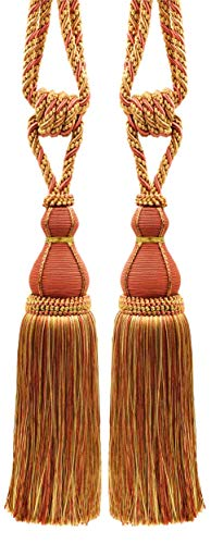 Pair of Elegant Copper, Olive Green, Light Gold Curtain & Drapery Tassel Tieback / 28cm tassel, 76cm / Spread (embrace) Style/ Style# TBH15 - Rust 07H