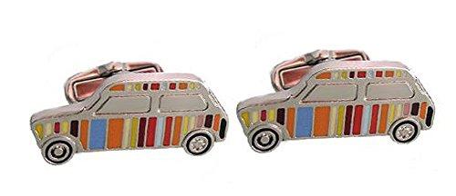 Unbekannt witzige Auto Manschettenknöpfe farbig gelackt silbern glänzend + schwarzer Exklusivbox