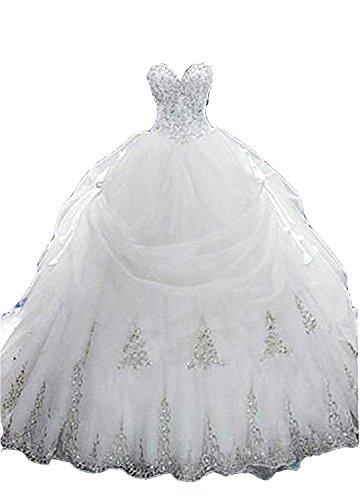 Cloverbridal Luxus Brautkleider Hochzeitskleider Prinzessin mit Strass Spitze Hochzeitskleider Ballkleider