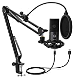 FIFINE Recording USB Microphone For Computer PC Studio Kit With Mic Pop Filter