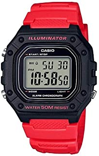 Casio Watch For Men Quartz , Digital Display and Resin Strap W-218H-4BVEF