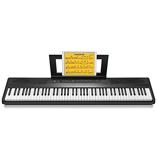 Donner DEP-45 Beginner Digital Piano, 88 Key Electric Keyboard Piano, Portable Electric Piano Keyboard W/Sustain Pedal, Bluetooth MIDI, Supports PC/Tablet/Cell Phone Connecting, Headphone Audio Output
