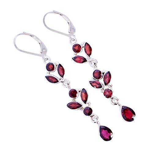 Red Garnet Gemstone 925 Solid Sterling Silver Dangle Earrings Pretty looking Handmade Jewelry,For Women FSJ-5296
