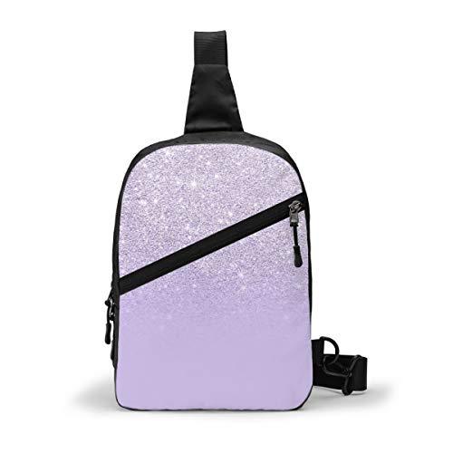 Stylish Purple Lavender Glitter Ombre Color Block Chest Package Multipurpose Crossbody Outdoor Shoulder Bag Daypack Sling Backpack Large Capacity Casual Sport Rucksack for Hiking Travel Sport