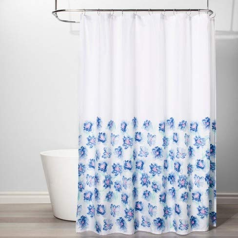 Room Essentials Creeping Floral Shower Curtain White/Blue