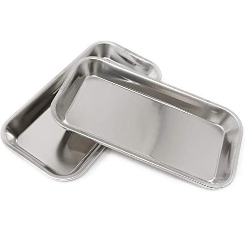 HONBAY 2PCS Stainless Steel Medical Trays Dental Trays Surgical Trays Lab Trays