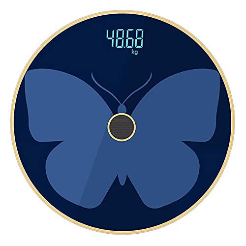 MH-RING Báscula de Baño Inteligente, Báscula de Baño Grasa Corporal Panel de Vidrio Templado, Máximo 180 kg, Carga USB (Color : Butterfly blue, Size : Range 0.2-180kg)