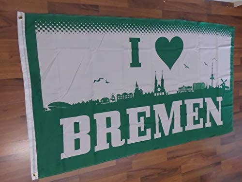 Fanshop Lünen Fahne Flagge Bremen Herz Skyline I Love - 90x150 cm Hissfahne mit Ösen Fanfahne Hißflagge Flag
