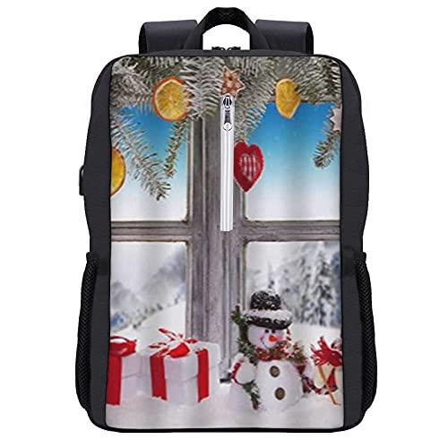 GKGYGZL Mochila de viaje,El muñeco de nieve de dibujos animados presenta la escena de la ventana de la cabina de madera,,Bolsa para computadora de negocios antirrobo delgada...