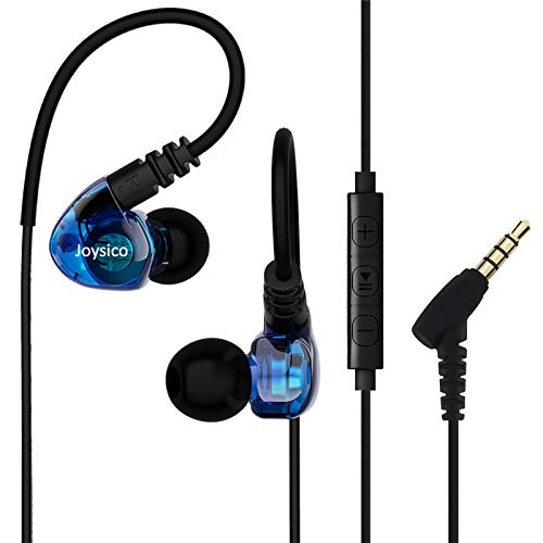 Joysico Sport Headphones Wired Over Ear In-ear Earbuds for Kids Women Small Ears Comfortable, Earhook Earphones for Running Exercise Jogging, Ear Buds with Microphone and Volume for Cell Phones Blue