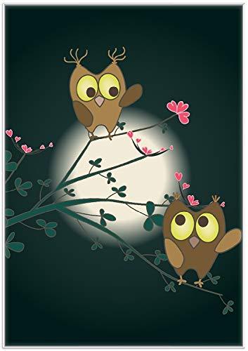 Wallario Wandbild Süße verliebte Eulen auf dem AST bei Nacht im Mondschein in Premiumqualität mit weißem Rahmen, Größe: 70 x 100 cm