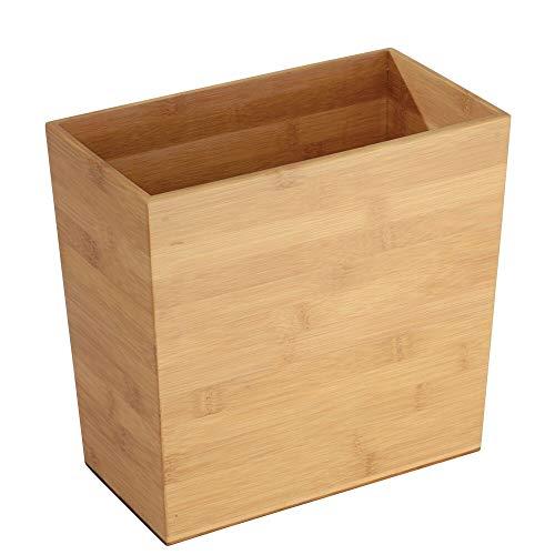 mDesign Mülleimer Bambus ohne Deckel – Abfallsammler für Büro, Wohnzimmer oder Schlafzimmer – BHT: 27,0 x 25,0 x 15,0 cm – Papierkorb aus Bambus – natur