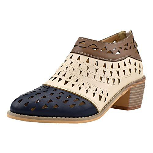 MISSUIT Damen Mid Heels Pumps Cut Out Lochmuster Blockabsatz Retro Vintage Chunky Heel Schuhe(Schwarz,37)