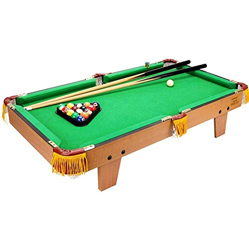 vidaXL 3 Feet Mini Pool Table Portable Indoor Game Snooker Game Table Billiard Cues Play Set Office Home Family Chalk Brown and Green