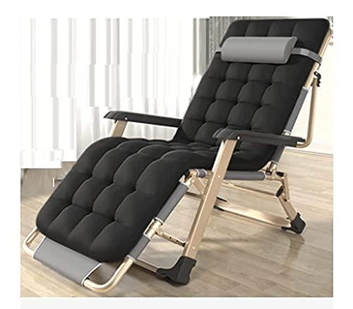HYDDG Silla reclinable plegable de gravedad cero para tumbonas, tamaño XL, sillas de cubierta, cojín de algodón para jardín, patio al aire libre, tumbonas, cama reclinable de hasta 260 kg
