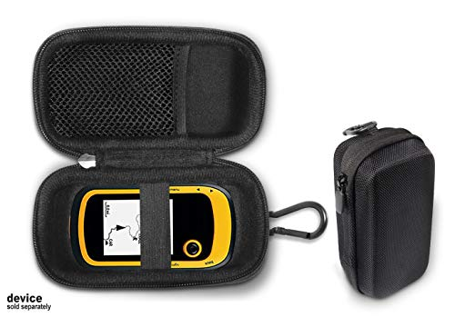 Handheld GPS Case Compatible with Garmin eTrex 10, 20, 20x, 30, 30x, 35t and Touch 35, 25, All in one Compact case for eTrex and Charger Cord, with Carabiner for Easy Carrying (Black)