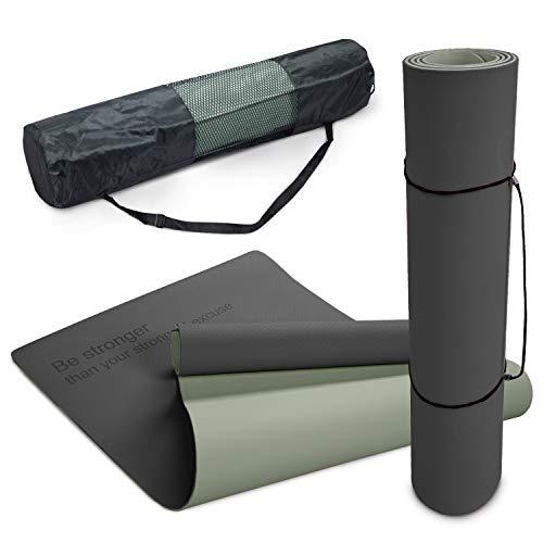 Paco Home Yogamatte Fitnessmatte rutschfest Abwaschbar 8mm Dicke Zweifarbig Motivationsspruch Tasche & Tragegurt Grau Schwarz, Grösse:80x183 cm