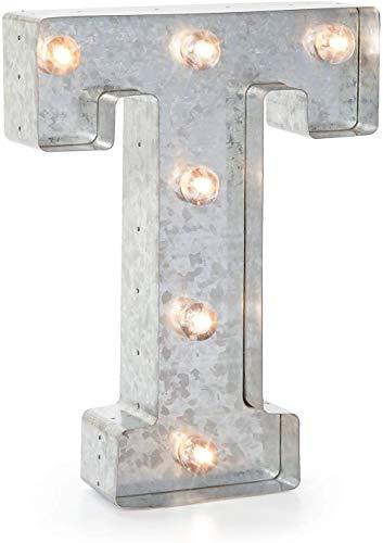 Darice LED metalen letter T, metaal, zilver, 25,5 x 19 x 5 cm