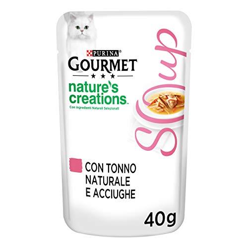 Purina Gourmet Crystal Nature's Creations Soup Katze mit natürlichem Thunfisch und Faust – 32 Beutel à 40 g pro Packung (32 x 40 g)