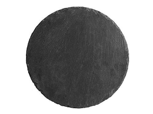 H & H leisteen set met 6 ronde borden, zwart, 30 x 0,5 cm