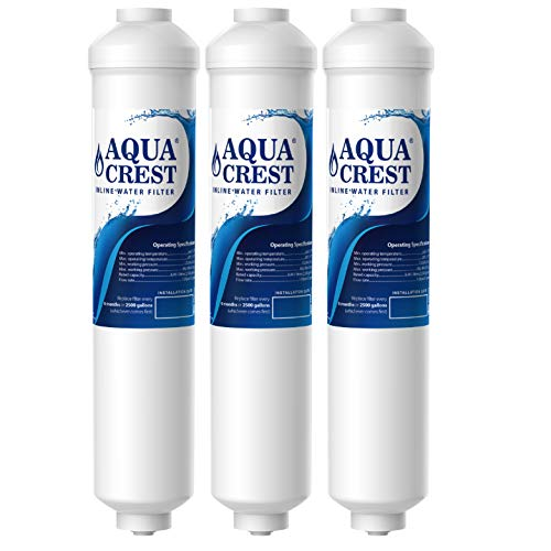 AQUACREST Replacement GXRTDR Exterior Refrigerator Icemaker Water Filter, NSF Certified, Compatible with GE GXRTDR, Samsung DA29-10105J, Whirlpool WHKF-IMTO (Pack of 3, Package May Vary)