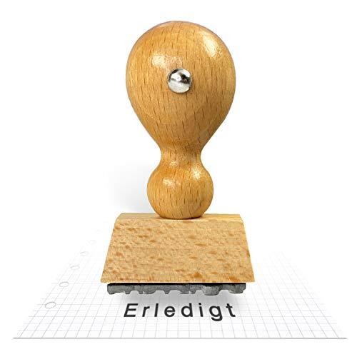 Betriebsausstattung24® Traditioneller Holzstempel inkl. Textplatte | Stempel aus Naturholz | Buchenholz | Erledigt | 33 x 6 mm