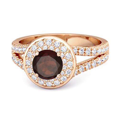 Shine Jewel Multi Elija su Piedra Preciosa Anillo de Doble halo Chapado en Oro Rosa Redondo de 0,25 Ctw Redondo (14, Granate)