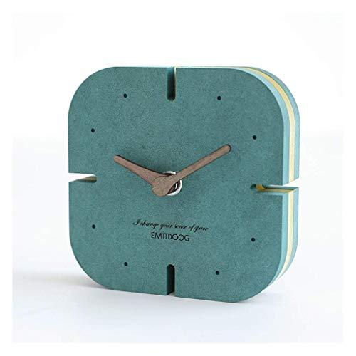MUMUMI Reloj Despertador, Reloj Nuevo Inforion de Mesa de Escritorio Comunicación de Decoración Creativa Mesa Sala de Estar Decoración de Escritorio Nordic Silencio Azul Alarma,D