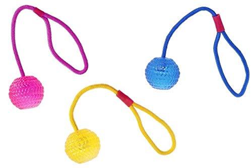 Karlie Bälle mit Wurfseil, 3 Stück im Set, farbenfroh - langleblig - tolles Spielzeug