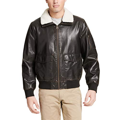 Dockers Men's Maverick Faux Leather Sherpa Collar Aviator Bomber Jacket (Standard & Big-Tall), dark brown, Large