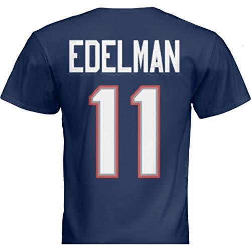 Hall of Fame Sports Memorabilia NWT New Edelman #11 New England Blue Custom Screen Printed Football T-Shirt Jersey No Brands/Logos Men's (2XL)