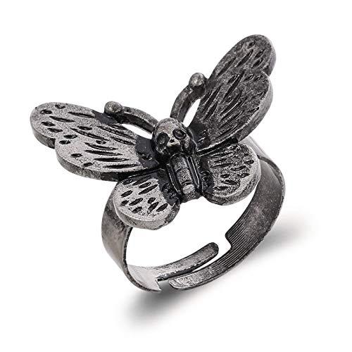Anillo ajustable apertura hembra Mujer niña Death Head Skull Moth Butterfly suena anillos ajustables para mujeres hombres tarot ocult gótico oscuro joyería halloween regalos de fiesta de Halloween