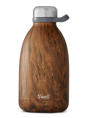 S'well Stainless Steel Roamer Bottle-64 Fl Oz-Teakwood Triple-Layered Vacuum-Insulated Containers Keeps Drinks Cold for 72 Hours and Hot for 24-BPA-Free Travel Water Bottle, 64oz