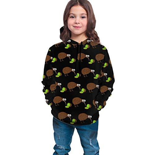 HNJZ-GS Sweat à Capuche Brun Kiwi Fruits Sweat à Capuche pour garçons Filles Adolescentes Junior, Streetwear