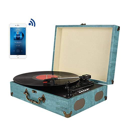 mejores Tocadiscos de vinilo Tocadiscos Bluetooth con Estéreo Altavoces, Tocadiscos de Vinilo de Estilo Vintage, 33/45/78 RPM, Salida RCA/Auriculares / MP3 / Grabacion de Vinilo