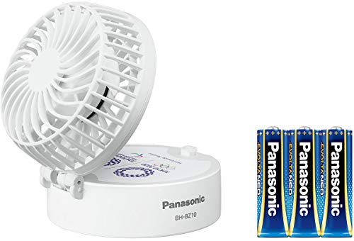 パナソニック 携帯扇風機 パーソナルファン 乾電池式 USB給電可 首掛け可 乾電池エボルタNEO付 ストラップ付 BH-BZ10/TP