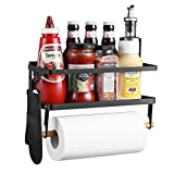 Magnetic Spice Rack for Refrigerator with Paper Towel Holder 2-in-1 Foldable Strong Magnetic Shelf Fridge Organizer - Counter Space Saver for Small Kitchen Apartment