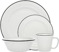 مجموعة أدوات المائدة بيسترو بلاك باند صحن سلطة العشاء - مجموعة من 16 قطعة