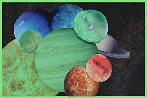 Glow in The Dark Planet Stickers - Solar System Planet Wall Decals - 9 Colorful Planet Stickers
