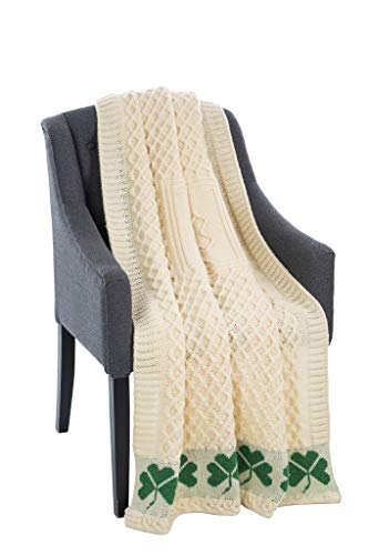 SAOL 100% Merinowolle Wabenmuster Warme und Weiche Aran Decke in Natur mit Kleeblatt, 60 x 40 Zoll