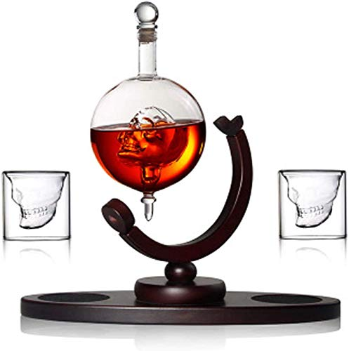 Wine Decanter, Liquor Bottle Dispenser Skull Decanter Set with 2 Skull Shot Glasses - Wooden Base - Use Skull Head Cup for Whiskey, Scotch and Vodka Shot Glass Whiskey Gift Set