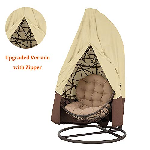 Patio Hanging Chair Cover Egg Swing Chair Covers Waterproof Outdoor Furniture Protector 75in H x 45in D (Beige)